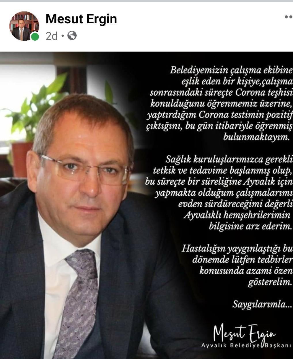 MESUT ERGİN'İN KORONA TESTİ POZİTİF
