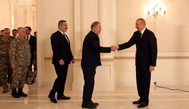 ÇAVUŞOĞLU,AKAR VE FİDAN CUMHURBAŞKANI ALİYEV'LE AZERBAYCAN'DA GÖRÜŞTÜ