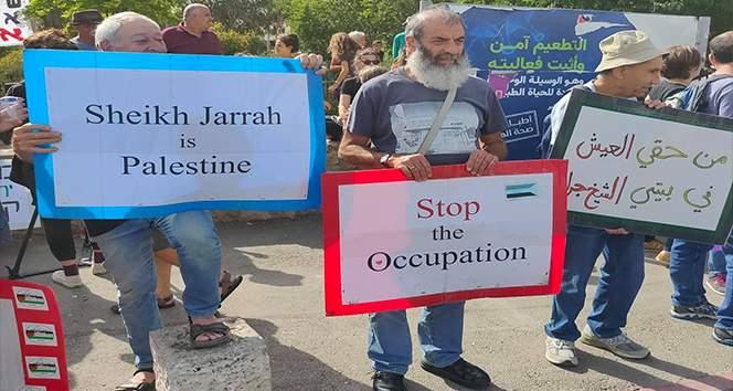 Arap ve Yahudilerden Şeyh Cerrah'ta Filistinli ailelere destek protestosu