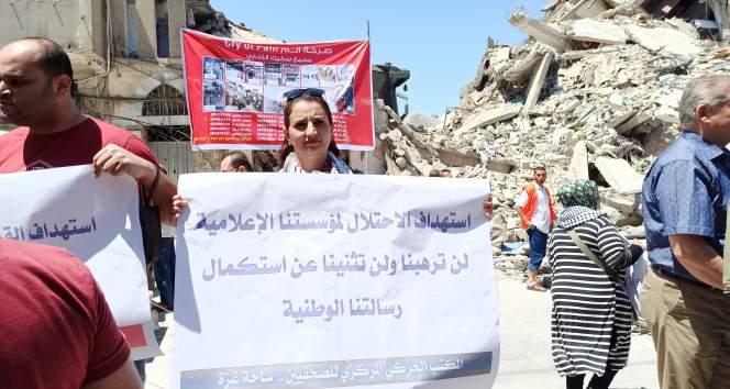 Gazze Gazeteciler Sendikasından, İsrail'in hedef aldığı medya kuruluşları için destek gösterisi
