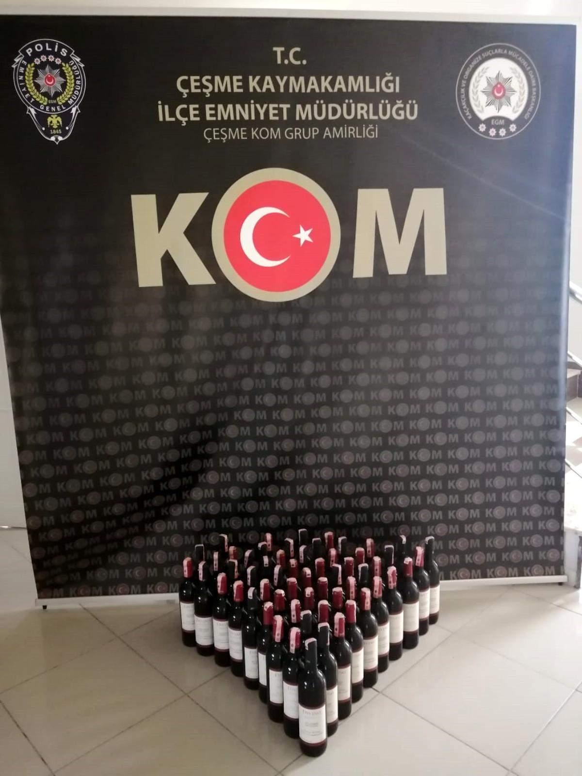 Çeşme de 58 şişe kaçak içki ele geçirildi