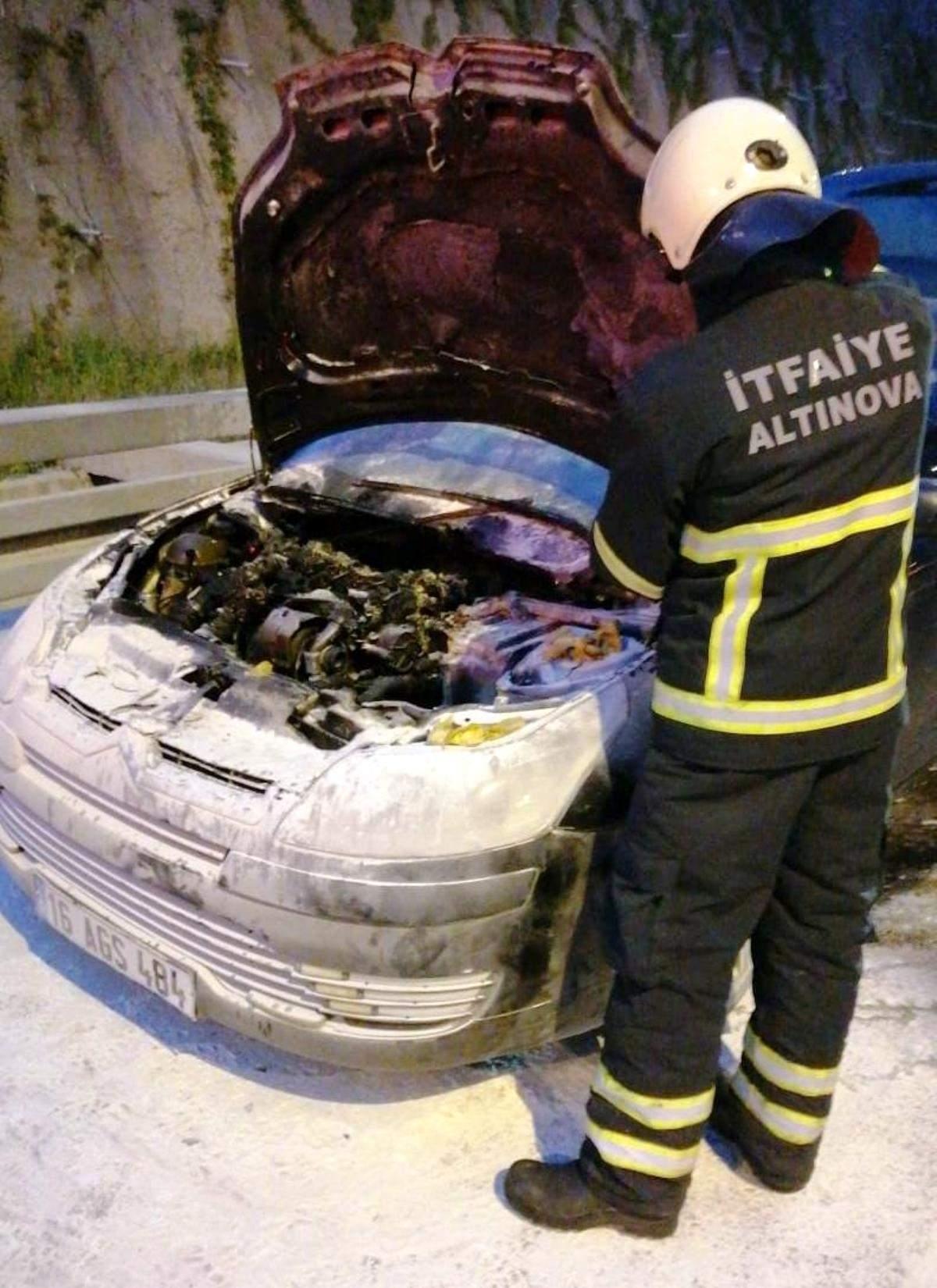 Orhangazi Tüneli nde araç yandı