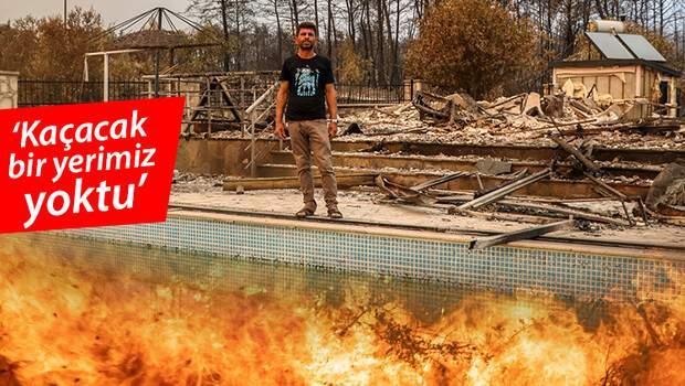 Antalya'da mucize kurtuluş! 6 kişilik aile havuza girerek yangından kaçtı