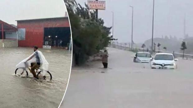 Hatay'da cadde ve sokaklar göle döndü! Araçlar mahsur kaldı